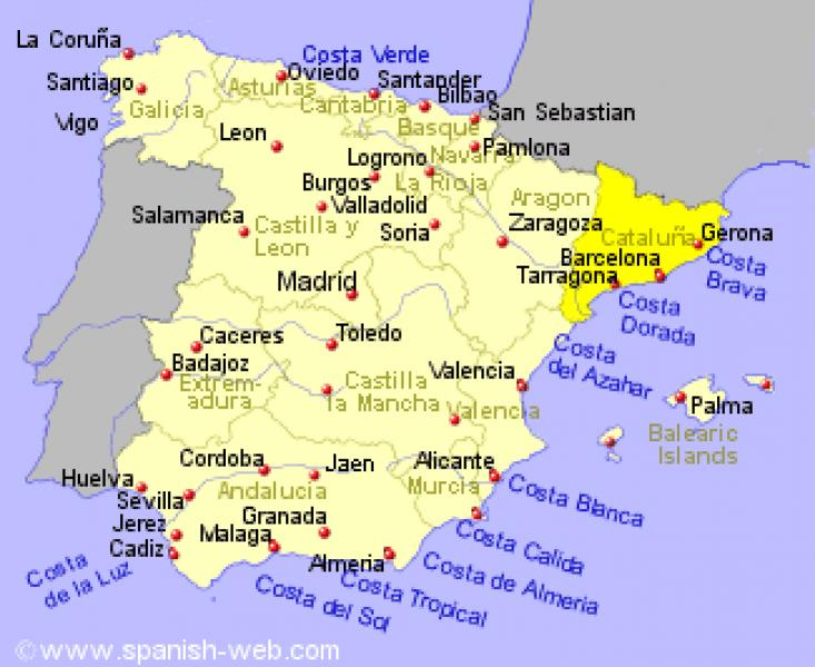 Spagna Costa Brava Cartina.Spagna Regione Catalogna Giadastellato